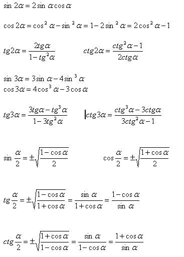 В формулах половинного угла знаки перед радикалами берутся в зависимости от знака тригонометрической функции...